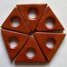 6 Red Jasper 19x23 Triangle Frame Beads