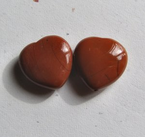 2 Red Jasper 20x20 Heart Pendant Beads