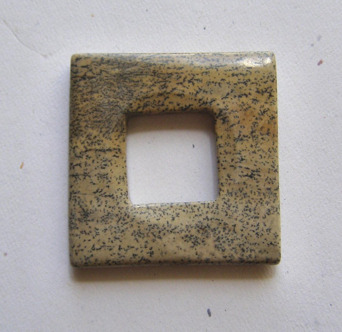 Artistic Jasper 39x39 Square Frame Pendant Bead