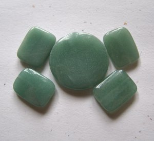 Green Aventurine Flat Disc Pendant Bead Set
