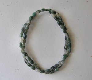 "Moss Agate 6x4 Barrel Beads 16"" strand"