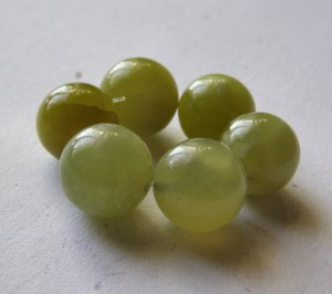 6 Olive Jade 14mm Round Beads