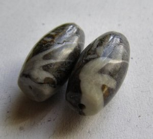2 Moroccan Fossil Jasper 25x12 Tapered Tube Beads