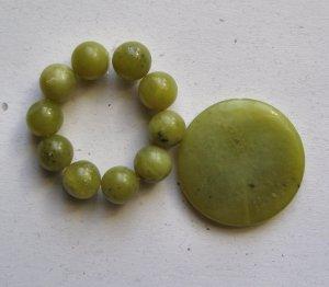 Olive Jade Pendant Bead Set