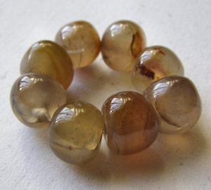 8 Carnelian Agate 11x11 Polished Pebble Beads