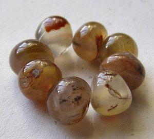 8 Carnelian Agate 11x10 Polished Pebble Beads