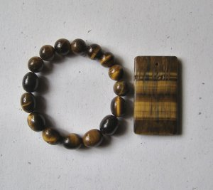 Tiger Eye Rectangle Pendant Bead Set