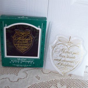 1988 Mother Acrylic Love Heart Hallmark Christmas Ornament
