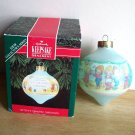 1992 First in series Betsey's Country Christmas Hallmark Blue Glass Teardrop Ornament