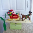 Whirlygig Mechanical Santa Sleigh with Reindeer Christmas Decor Ornament