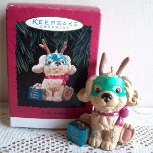 Secret Santa Hallmark Puppy Dog Christmas Ornament 1994