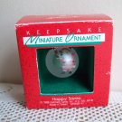 Happy Santa Frosted Ball Miniature Ornament Hallmark Christmas 1988