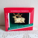 Scrimshaw Reindeer 1989 Hallmark Miniature Ornament