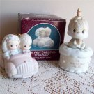 Two First Christmas Precious Moments 1990 Car and 1988 Birthday Cake Club Enesco