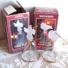 Two Crystal and 22 Kt Gold Christmas Bell Ornaments Angel Bird