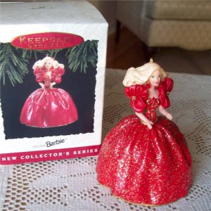 Holiday Barbie 1993 First in Series Ornament Christmas Red Dress