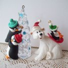 Polar Coaster and Friendly Boost Hallmark 1995 Bear and Penguin Christmas Ornaments
