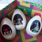 Winter Surprise Three Penguin Oval Hallmark Ornaments 1989 - 1992