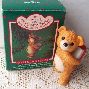 Cinnamon Bear Hallmark #4 in Series 1986 Porcelain Christmas Ornament