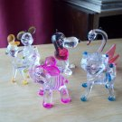 Animal Christmas Ornaments Vintage Clear Plastic Lucite Snoopy, elephant, mouse, swan cat, deer