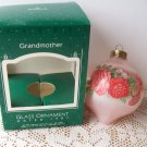 Grandmother 1987 Pink tear drop Hallmark Glass Ball Ornament