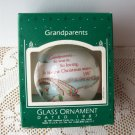 Grandparents 1987 White Glass Ball Hallmark Ornament Winter