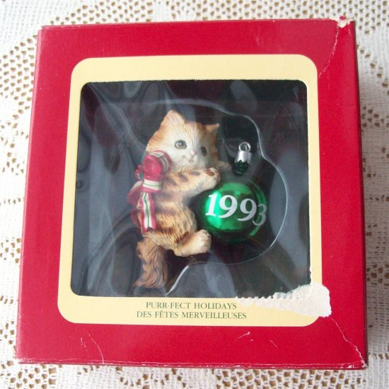 Purr-fect Holidays Carlton Kitten Christmas Ornament Cat 1993