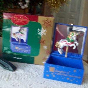 Carlton Daughter Christmas Ornament Unicorn Trinket Box 2004 purple jewelry box