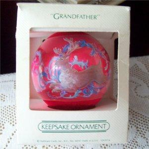 Grandfather Hallmark 1982 Satin Ball Christmas Ornament Red