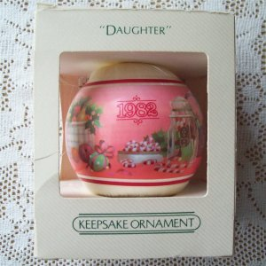 1982 Hallmark Daughter satin ball pink Christmas ornament