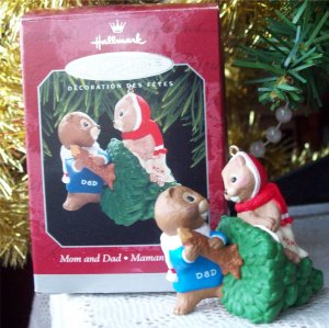 Mom and Dad 1998 Hallmark Ornament Beavers
