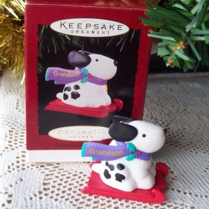 Grandson Hallmark Christmas Ornament Dog on Sled