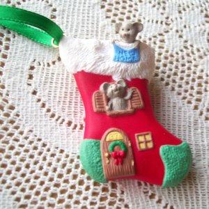 1997 New Home Hallmark Christmas Ornament Mice Stocking