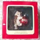 Purr-fect Holidays Carlton 1991 Kitten with a Christmas Ornament Red