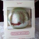 Hallmark Glass Ornament titled Love 1983 Green Ball