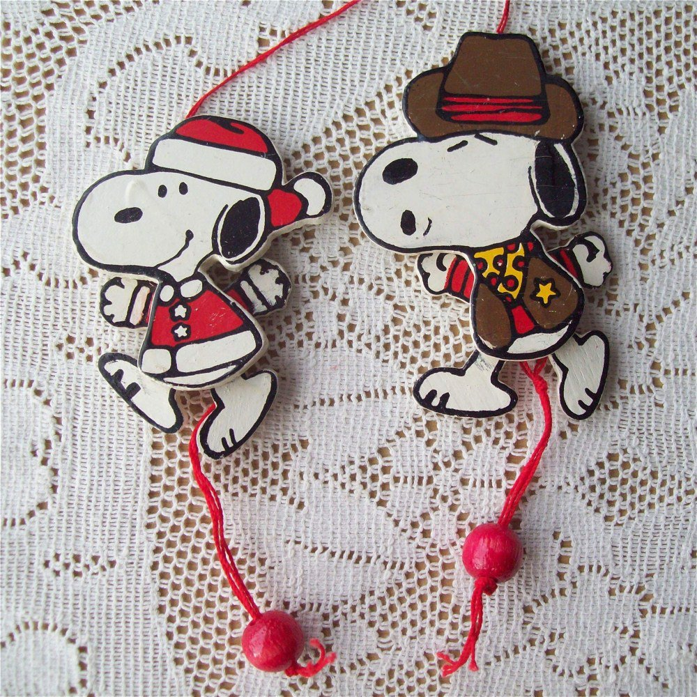 wooden pull string snoopy christmas ornaments santa  u0026 sherrif