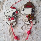 Wooden pull string Snoopy Christmas Ornaments Santa & Sherrif