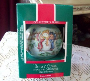 1989 Betsey Clark Home for Christmas Fourth in Series Hallmark Ornament Blue Glass Ball