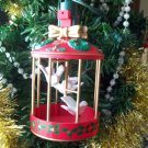 Noma Ornamotion Bird Cage w White Birds Christmas Ornament
