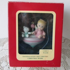 Granddaughter's First Christmas 1992 Ornament by Carlton Whirl Top Toy