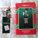 Santa's on the Line Enesco Elf on Cell Phone Music Christmas Ornament 1995