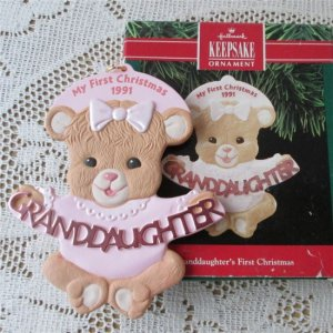 Granddaughters First Christmas Hallmark Ornament Pink Iced Cookie 1991