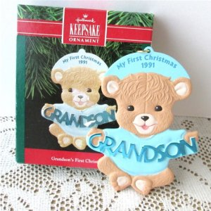 Grandsons First Christmas Hallmark Ornament Blue Boy Cookie 1991