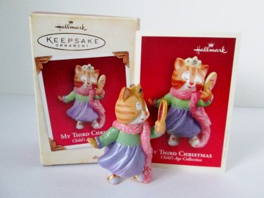 My Third Christmas Childs Age Collection Hallmark Baby Girl 2005 Cat Kitten Ornament