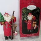 Folk Art Americana Collection Hallmark Making His Way Santa Ornament 1995