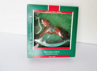 1989 Hallmark Rocking Horse 9th in series Brown Aqua