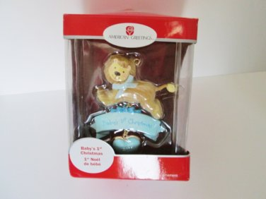 2011 Baby's First Christmas Lion Cub Blue American Greetings