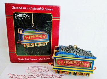 Carlton Wonderland Express 1997 Coal Car Train Ornament 2nd in Series