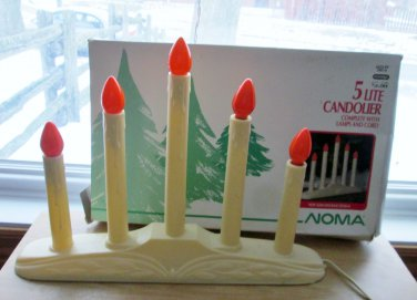 Noma 5 Light Candelabra Electric Candolier Cream White Candles