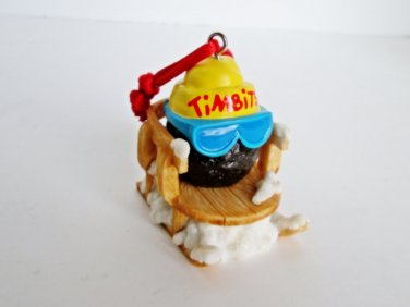 Tim Hortons Coffee Timbit Donut in a Sleigh Christmas Ornament 2012 Tobaggan Sled Ski Glasses